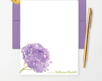 Personalized Note Pad // Watercolor Hydrangea Flowers // S112