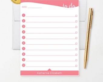 Personalized Note Pad // To Do List // Pink, Teal, Purple, Green, Blue with Name