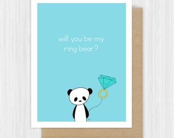 Will You Be My Ring Bearer Card Funny Pun Panda Ring Bear Proposal Cards Cute Sweet Fun Bridal Party Handmade Greeting For Boy Girl Child