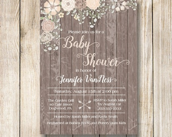 Rustic Pink Baby Shower Invitation, Baby's Breath and Pink Flowers Baby Shower Invitation, Baby Girl Baby Shower Invite, Rustic Floral Baby