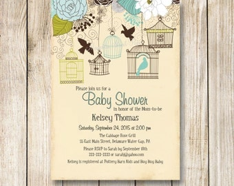 Bird Cage Baby Shower Invitation, Bird Baby Shower Invite, Rustic Baby Boy Baby Shower Invitations, Baby Bird Shower Invite
