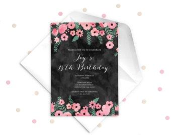 Invitation card 18 birthday purplemoon birthday invitation th etsy au invitation samples stopboris Gallery