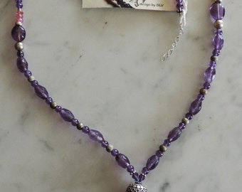 Necklace with Amethyst, Ruby and Silver 925.  Necklace with amethyst, ruby and silver.
