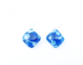 Recycled wine bottle sterling silver earrings in blue and white glass/Eco-friendly blue and frosted glass kiln-fused earrings