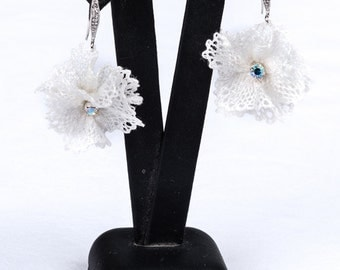 "Earrings ""Brigitte"" in bobbin lace"