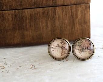 Retro World Map Stud Earrings, World Map Earrings, Antique Map, Retro World Map, World Map, Old World Map, Traveler, Continents, Globe