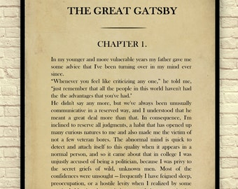 Classic Book Page, F. Scott Fitzgerald , The Great Gatsby, Chapter 1, Page 1, Book Page Wall Art, Book Page Art Print