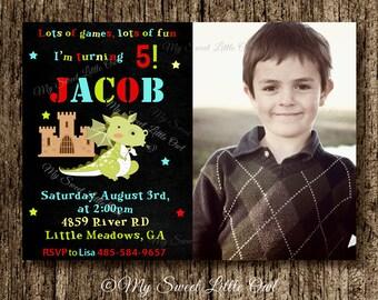 Dragon chalkboard invitation - birthday invitation - chalkboard invitation - boy party - knight dragon invitation - chalkboard invite