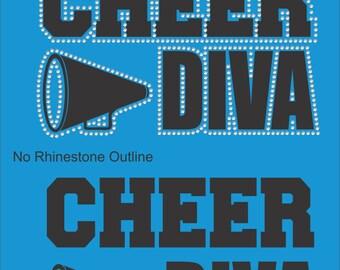 Cheer Sweatshirt/ Cheer Hoodie/ Vinyl Rhinestone Cheer Diva Hoodie Sweatshirt/ Cheer Gift/ Many Colors
