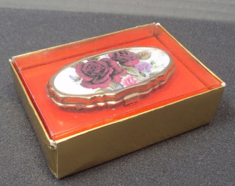 NOS Boxed Red Rose Mirror Lipstick Holder
