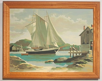 Vintage 1960's Paint by Number Sailboat in Harbor Seascape in Period Wood Frame