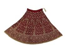 Vintage Indian Bridal Lehenga Net Hand Beaded  Fabric Antique Deco Craft Heavy Traditional Wedding Fancy Maroon Skirt Net Wrap VSK2552S