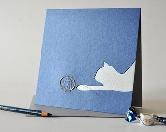 """Papercut greeting card """"wool-playing cat"""" animal lovers' gift to be framed, minimal wishes in black+golden 