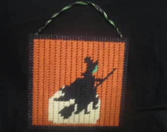 Plastic Canvas Witch Silhouette Wall Hanging