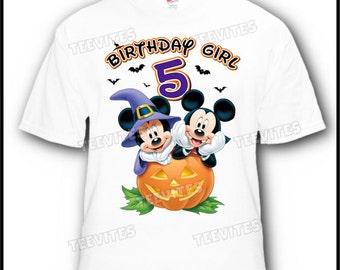 Mickey and Minnie Mouse Halloween Disney Birthday T-Shirt