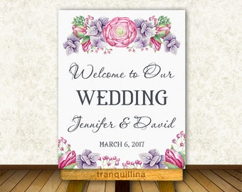 Floral Wedding Welcome Sign Printable, Wedding Welcome Poster, Wedding Reception Sign, Printable Welcome Sign, Bridal Shower Welcome Sign