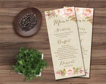 Floral Wedding Menu Printable, Wedding Menu Card, Rustic Wedding Menu, Peony Wedding Menu, Digital File