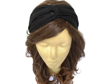 Twist Headband Twist Turban Black Glitter Turban 1920s Turban Turban Headband Knot Headband Adult Head Wrap Gift Idea