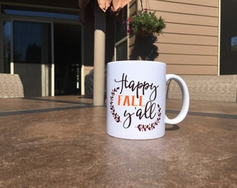 Happy Fall Y'all Mug // Fall Mug // Pumpkin Spice Mug // Fall // Fall Season Mug // Deer Floral Mug // Floral Deer // Y'all