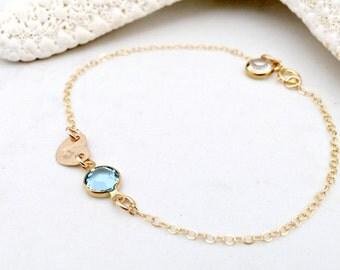 14k gold filled initial bracelet personalized birthstone bracelet heart with initial girls bracelet baptism bracelet swarovski birthstones