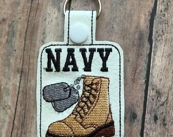 Navy - Sailor - Combat Boot - Dog Tags - Key Fob Design - DIGITAL EMBROIDERY Design