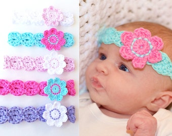 HEADBAND PATTERN By KerryJayneDesigns, BABY Headband Pattern Flower Headband pattern Crochet Headband pattern 8 sizes easy headband Uk Pdf