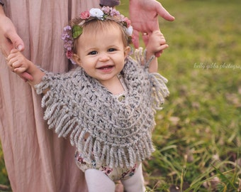 Handmade Baby Poncho, Handmade Gifts Under 30, Winter Baby Poncho, Knit Poncho, Poncho with Fringe, Fringed Baby Poncho, Winter Gift