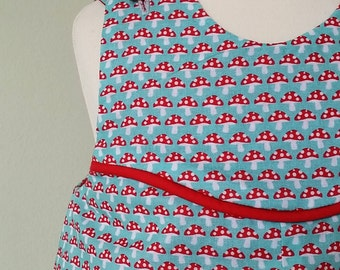 Girls toadstool dress, reversible pinafore dress, kids clothing, red spotted, 2 in1 clothing, uk