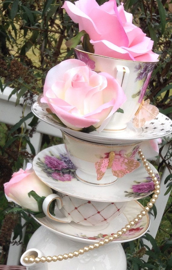 Pink and gold teapot teacup centerpiece by