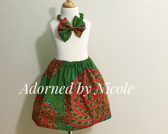Green and Orange a Girls African Print Skirt Set