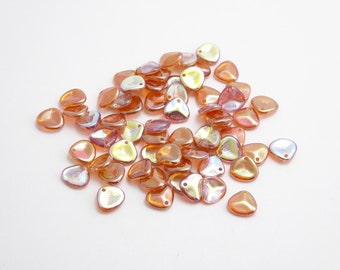 60 x Orange Rainbow Rose Petal Czech Glass Beads, Orange AB Petal Beads, Orange Petal Beads, AB Petal Beads, 8x7mm PET0017