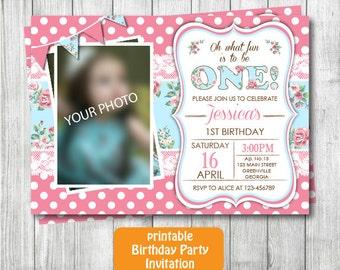 Any Age Shabby Chic Birthday Invitation, Girl Birthday Invitation, Vintage Birthday Invitation, Shabby Chic Printable Photo Invitation