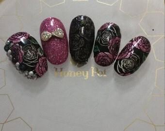 Press on Nails Kawaii Hime Gyaru Japanese Pink Glitter Nails