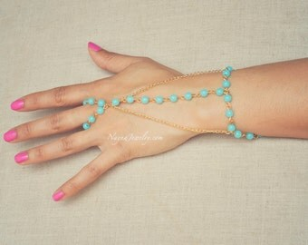 THE  CLEA - Gold Aqua Pearl Hand Triangle Jewelry Harem Bracelet Slave Boho Bohemian Gypsy Ring Indian Chain Spring Summer Festival