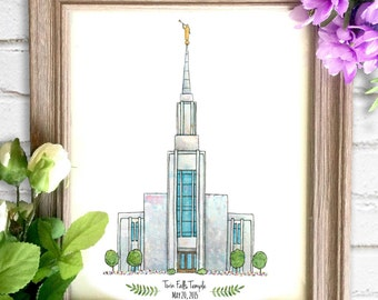 Twin Falls Temple Watercolor Art Print- Personalized Gift, Painting, Art, Illustration, LDS Art, Idaho LDS Temple, Wedding Gift, Date