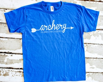 Kid's Archery Shirt - Archery Makes Me Happy - Royal Blue Youth T-Shirt