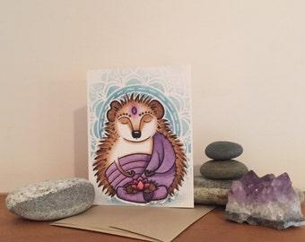 Zen Hedgie Buddha Blank Greeting Card in Blue