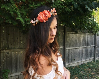 Whimsical Orange Flower Crown