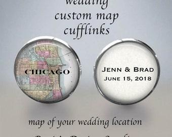 GROOMSMEN CUFFLINKS - Father of Bride Cufflinks - Map Cuff Links - Destination Wedding Cufflinks - Bridal Map Cufflinks - Father of Groom