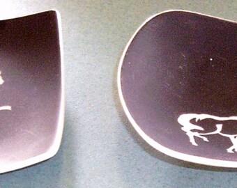 Oriental Otagiri OMC Japan Black/White Small Equestrian/Horse/Accessory/Pin Trays - 1970's