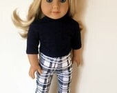 American Girl Doll Clothes - Blue and White Print Cotton Ankle Cropped Pants