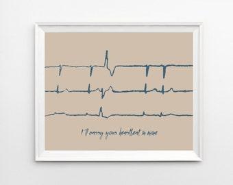 Heartbeat Art Memorial Gift, Actual Heartbeat SVG, Custom EKG Sound Wave Art Print, Heart Beat Memorial Keepsake Art, Heartbeat Keepsake
