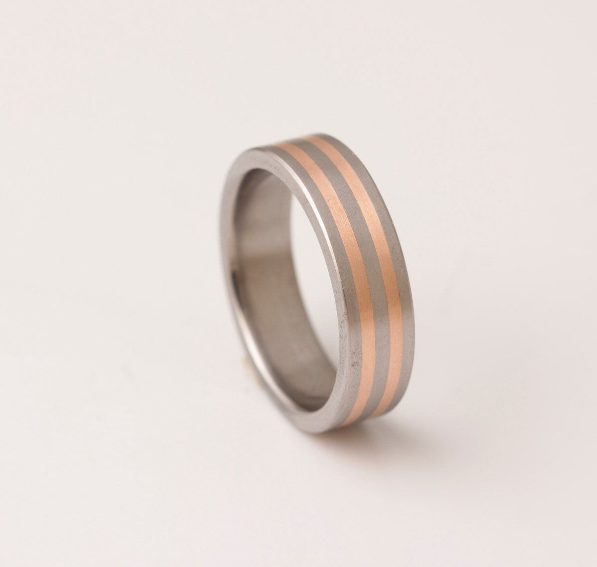Titanium copper wedding ring men39s wedding band for Mens copper wedding rings