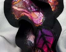 Felted scarf-Silk scarf-Nuno felted scarf with leaves-black-purple