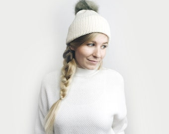 Double Brim Hat, Knit Slouchy Beanie ⨯ The Savante ⨯ in CREAM with GRAY fur pom