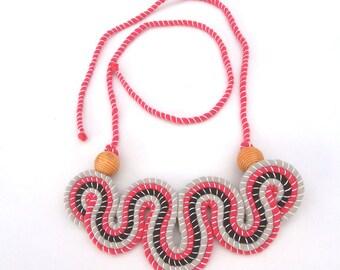 Fabric Necklace, Boho Necklace, Bohemian Jewelry, Fabric Jewelry, Statement Necklace, Big Bold Chunky, Large Bib Necklace, Handmade Necklace