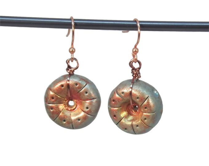 Teal Blue Round Clay Dangle Drop Earrings, Nickle Free Copper Plated Ear Wires OOAK