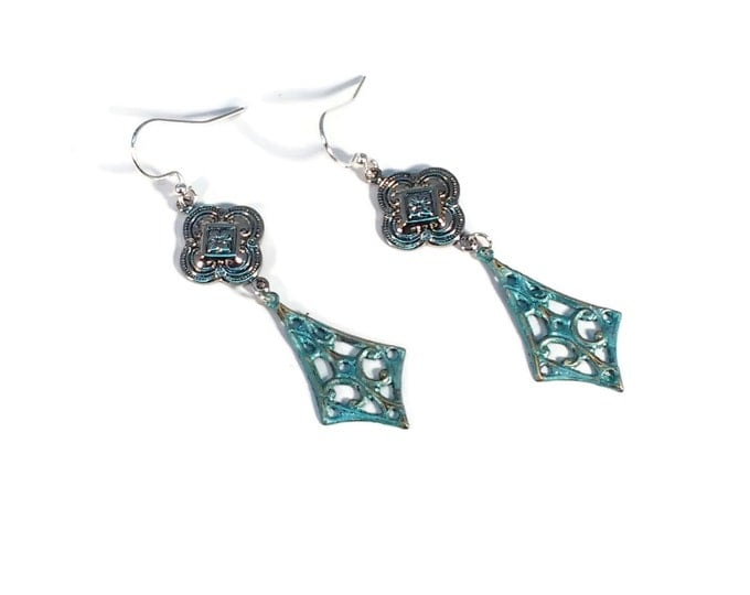 Hand Painted Pinnacle Teal Blue Diamond Dangle Drop Earrings Nickle Free Silver Plated Ear Wires Hypo Allergenic