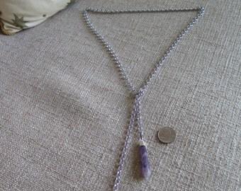 amethyst lariat, amethyst jewelry, lariat necklace, silver necklace, purple necklace, purple jewelry, amethyst daggers necklace, gemstone