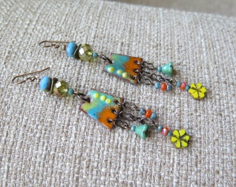 festival earrings, aqua and orange earrings, aqua and yellow earrings, orange and yellow earrings, chain earrings, boho earrings, unique